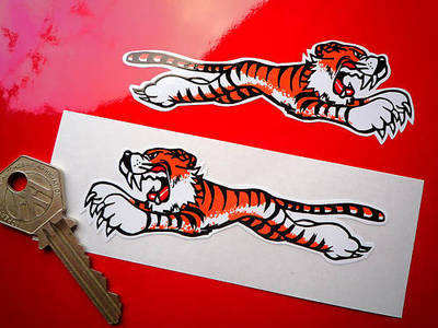 "Leaping Tiger Stickers. White. 4"", 6"" or 8"" Pairs."