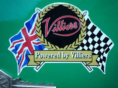 "Villiers Flag & Scroll Sticker. 4""."