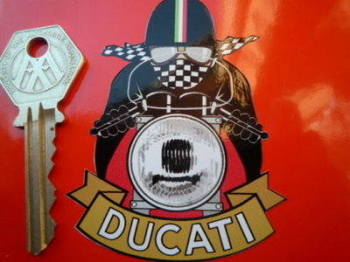 "Ducati Cafe Racer Pudding Basin Helmet Sticker. 3"" or 6""."
