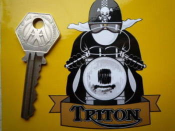 "Triton Cafe Racer with Pudding Basin Helmet Sticker. 3""."