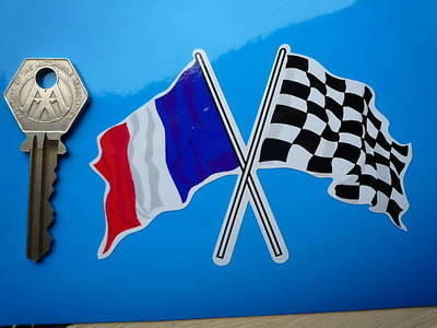 "Crossed French & Chequered Flag Sticker. 4""."