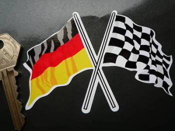 "Crossed German & Chequered Flag Sticker. 4""."