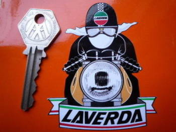 "Laverda cafe Racer with Pudding Basin Helmet Sticker. 3""."