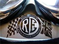 "Royal Enfield RE Disc & Flags Black & Clear Sticker. 3""."