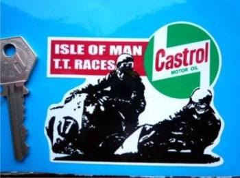 "Isle Of Man TT Races Sidecar Racers Sticker. 3.5""."