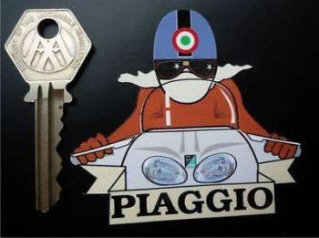 "Piaggio Pudding Basin Helmet Cafe Racer Sticker. 3""."