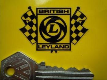 "British Leyland Black & Clear Chequered Flag Stickers. 2"" or 3"" Pair."