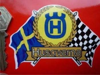 "Husqvarna Flag & Scroll Sticker. 4""."