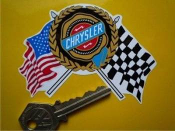 "Chrysler USA Flag & Scroll Sticker. 3.5""."