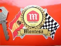 "Montesa Flag & Scroll Sticker. 4""."