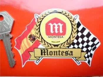 "Montesa Flag & Scroll Sticker. 4""."