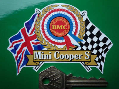 Mini Cooper S BMC Flags & Scroll Sticker. 3.75
