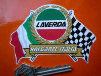 "Laverda Flag & Scroll Sticker. 3.75""."