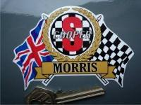 "Mini Morris Cooper S Flag & Scroll Sticker. 3.75""."