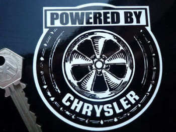 "Chrysler 'Powered By' Wheel Sticker. 3.5""."