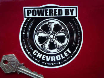 "Chevrolet 'Powered By' Wheel Style Sticker. 3.5""."