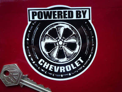 Chevrolet 'Powered By' Wheel Style Sticker. 3.5