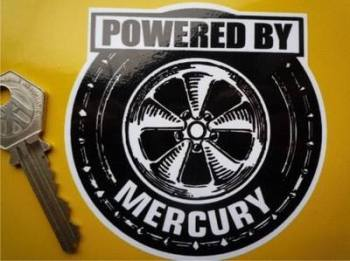 "Mercury 'Powered By' Wheel Style Sticker. 3.5""."