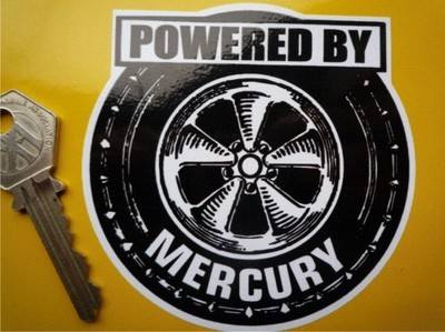 "Mercury 'Powered By' Wheel Style Sticker. 3.5""."