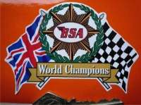 "BSA World Champions Flags & Scroll Sticker. 4""."
