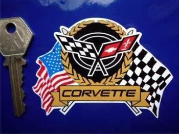 """Corvette Flag & Scroll Sticker. 4"""" or 11""""."""