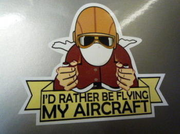 "I'd Rather Be Flying My Aircraft Sticker. 3.5""."