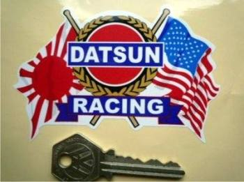"Datsun Racing Flag & Scroll USA & Japan Sticker. 4""."
