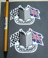 "Triumph Shaped Crest & Flags Stickers. 3"" Pair."