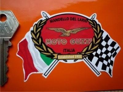 Moto Guzzi Mandello Del Lario Flag & Scroll Style Sticker. 3.75