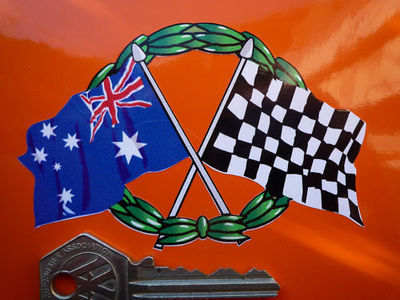 "Crossed Australian & Chequered Flag with Garland Sticker. 4""."