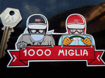 "Mille Miglia 1000 Driver & Passenger Sticker. 5""."