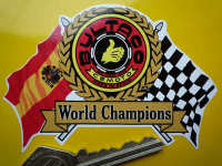 "Bultaco World Champions Flag & Scroll Sticker. 4""."
