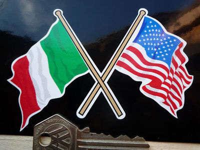 "Italian & USA Stars & Stripes Crossed Flags Sticker. 4""."