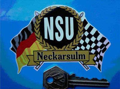 """NSU Flag & Scroll Sticker. 4""""."""