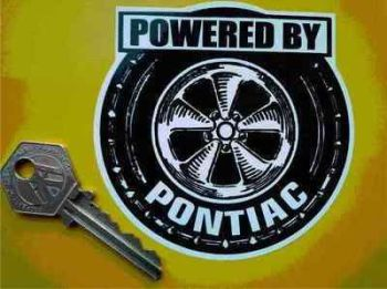 "Pontiac 'Powered By' Wheel Style Sticker. 3.5""."