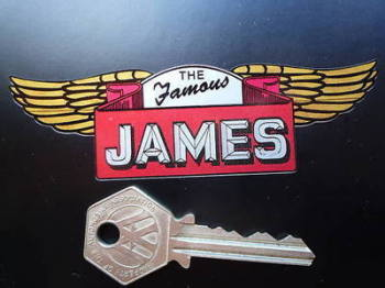 "The Famous James Winged Sticker. 4""."
