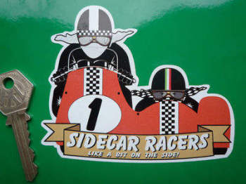 "Sidecar Racers Like A Bit On The Side! Sticker. 4""."