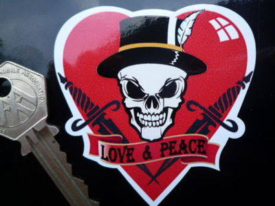 "Love & Peace Skull Heart Sticker. 2.5""."
