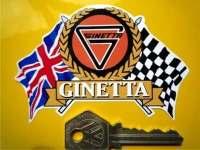 "Ginetta Flag & Scroll Sticker. 3.75""."