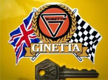 "Ginetta Flag & Scroll Sticker. 3.75""."