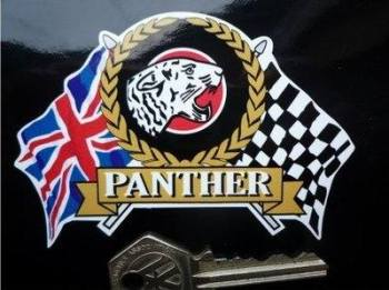 "Panther Flag & Scroll Sticker. 3.75""."