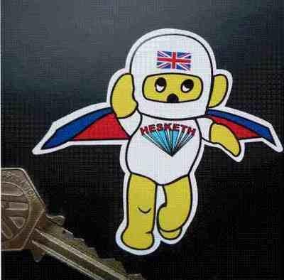 """Hesketh. Flying Teddy Sticker. 3""""."""