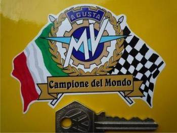 "MV Agusta Flag & Scroll Sticker. 4""."