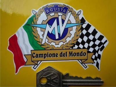 MV Agusta Flag & Scroll Sticker. 3.75