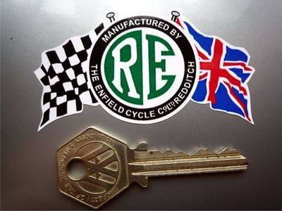 Royal Enfield RE Disc & Flags Coloured Sticker. 3