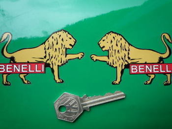 "Benelli Coloured Lion Stickers. 3"" or 4.5"" Pair."