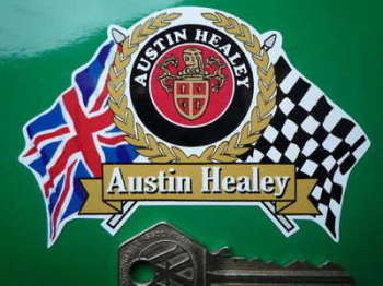 "Austin Healey Flag & Scroll Sticker. 4""."