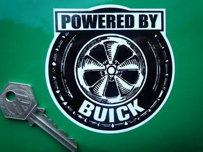"Powered By Buick Wheel Style Sticker. 3.5""."