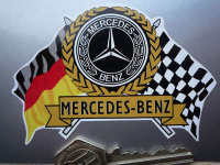 Mercedes Benz Flag & Scroll Sticker. 3.75