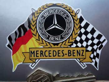 "Mercedes Benz Flag & Scroll Sticker. 3.75""."